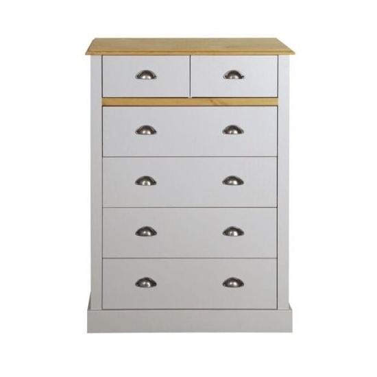 Marina Wooden Chest Of Drawers In Grey Pine With 6 Drawers_2