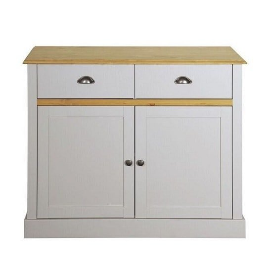 Marina Wooden Compact Sideboard In Grey Pine