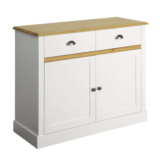 Marina Wooden Compact Sideboard In White Pine