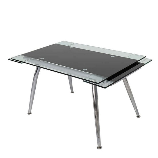 Marina Glass Extendable Dining Table In Black And Clear