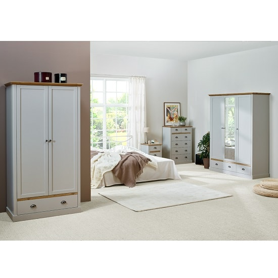 Marina Wooden Bedside Cabinet In Grey Pine With 3 Drawers_4