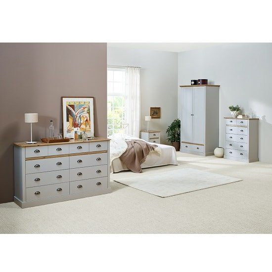 Marina Wooden Bedside Cabinet In Grey Pine With 3 Drawers_6