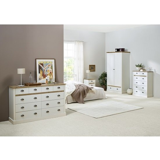 Marina Wooden Bedside Cabinet In White Pine With 3 Drawers_6