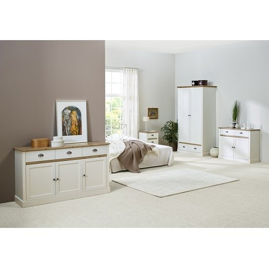 Marina Wooden Bedside Cabinet In White Pine With 3 Drawers_5