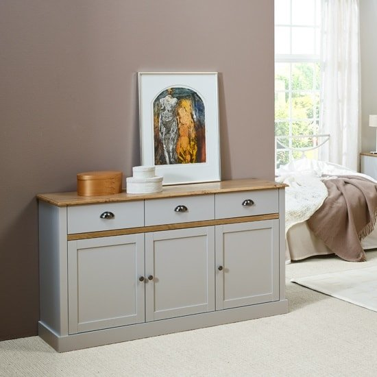 Marina Wooden Sideboard In Grey Pine With 3 Doors