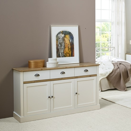Marina Wooden Sideboard In White Pine With 3 Doors