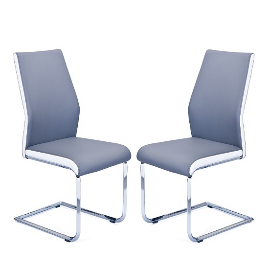 Marine Dining Chair In Grey And White Faux Leather In A Pair_1