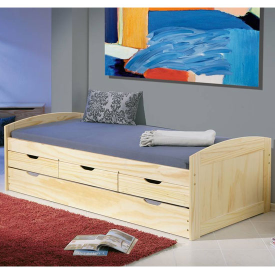 Marinella Wooden Function Single Bed In Natural Oak