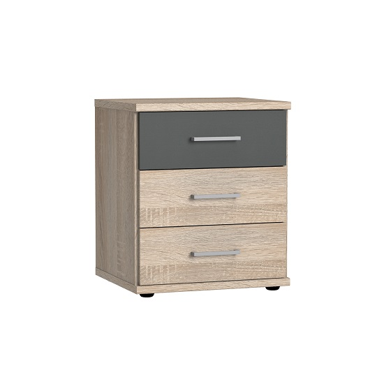 Marino Wooden Bedside Cabinet In Oak Effect And Graphite