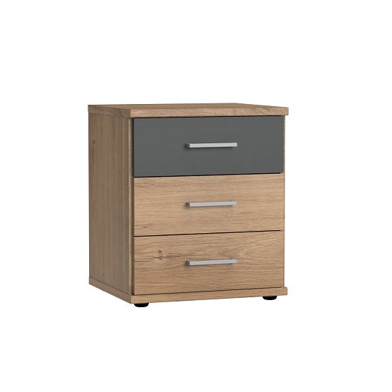 Marino Bedside Cabinet In Planked Oak Effect And Graphite