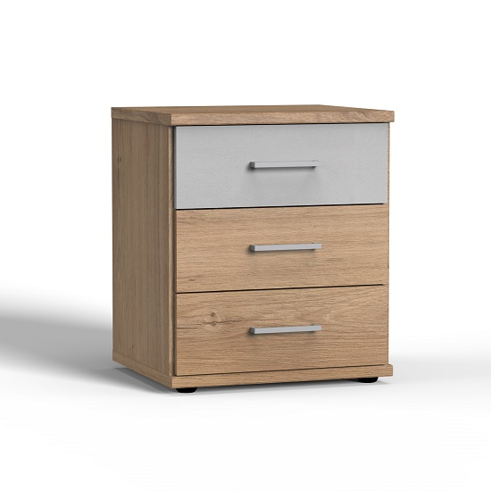 Marino Bedside Cabinet In Planked Oak Effect And Light Grey