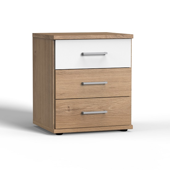 Marino Wooden Bedside Cabinet In Planked Oak Effect And White