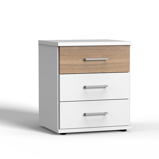Marino Wooden Bedside Cabinet In White And Planked Oak Effect