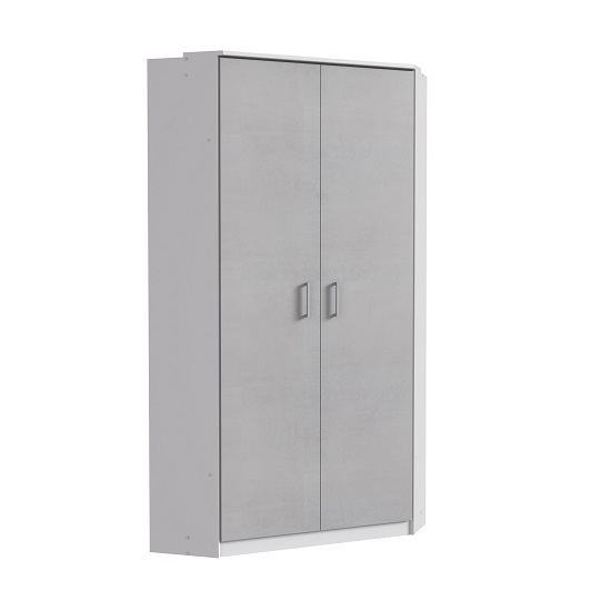 Marino Wooden Corner Wardrobe In White And Light Grey