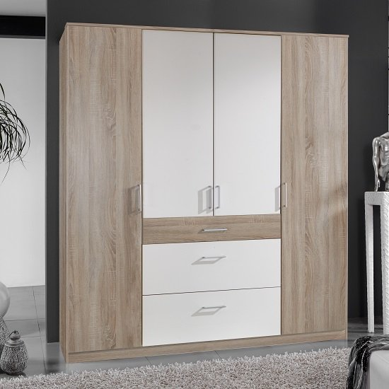 Marino Wooden Wardrobe Large In Oak Effect And White
