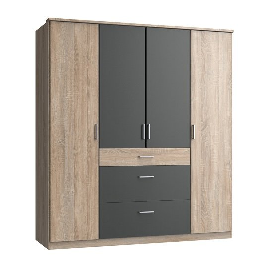 Marino Wooden Wardrobe Large In Oak Effect And Graphite