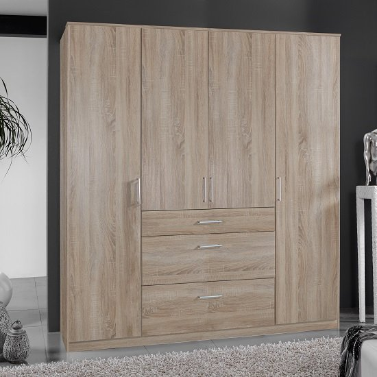Marino Wardrobe Large In Oak Effect With 4 Doors And 3 Drawers