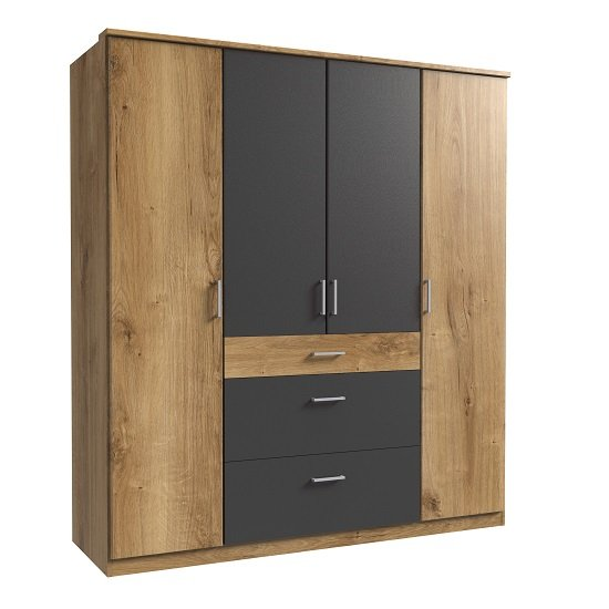 Marino Wooden Wardrobe Large In Planked Oak Effect And Graphite