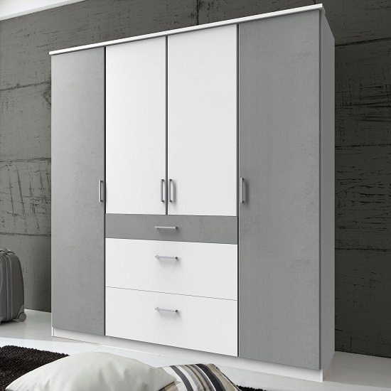 Marino Wooden Wardrobe Large In White And Light Grey
