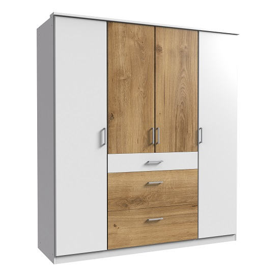 Marino Wooden Wardrobe Large In White And Planked Oak Effect