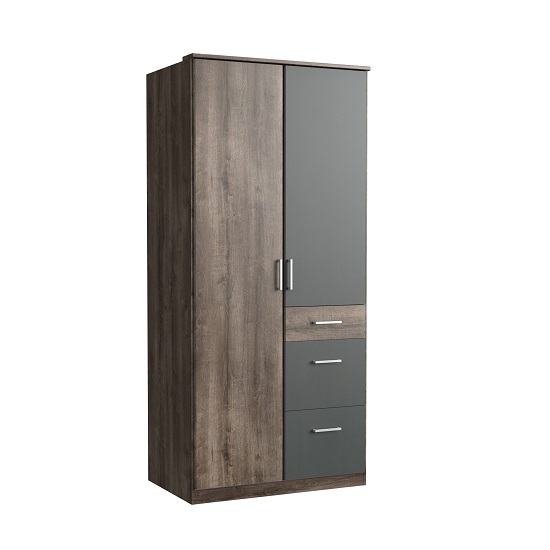 Marino Wooden Wardrobe In Muddy Oak Effect And Graphite