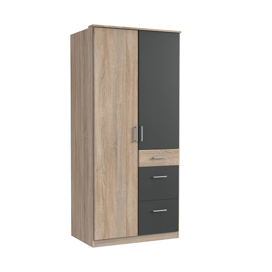Marino Wooden Wardrobe In Oak Effect And Graphite With 2 Doors
