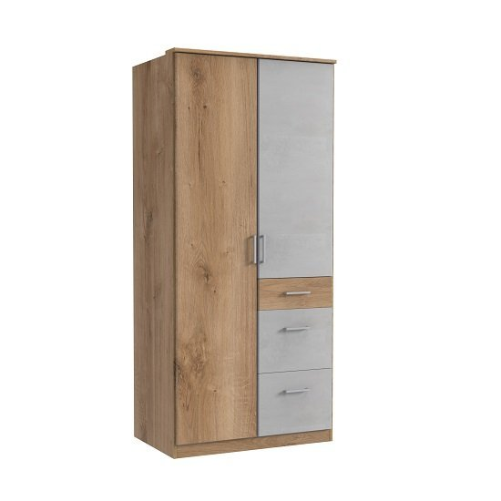 Marino Wooden Wardrobe In Planked Oak Effect And Light Grey