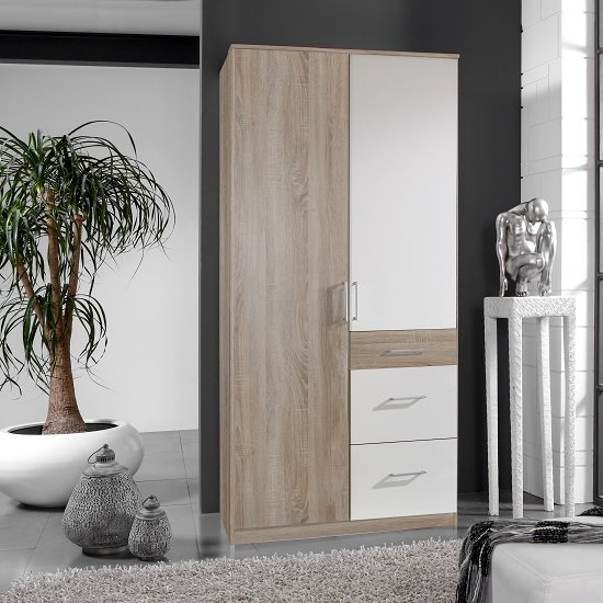 Marino Wooden Wardrobe In Oak Effect And White With 2 Doors