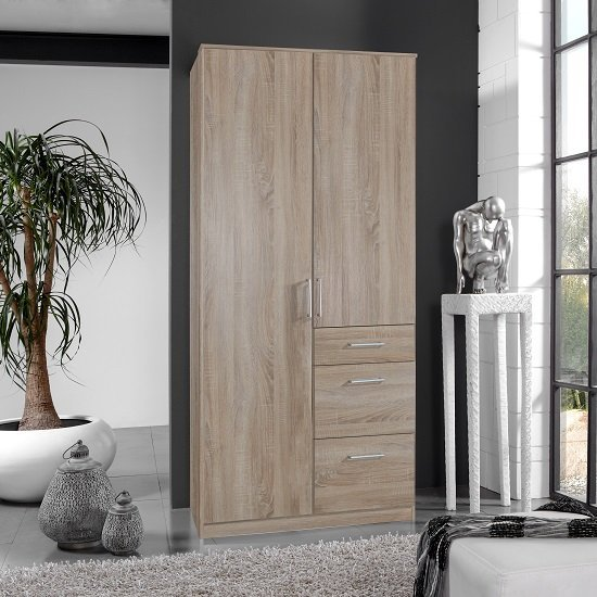 Marino Wooden Wardrobe In Oak Effect With 2 Doors And 3 Drawers