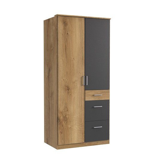 Marino Wooden Wardrobe In Planked Oak Effect And Graphite