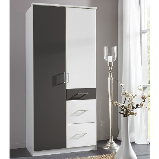 Marino Wooden Wardrobe In White And Graphite With 2 Doors