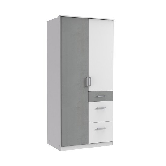 Marino Wooden Wardrobe In White And Light Grey With 2 Doors