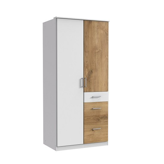 Marino Wooden Wardrobe In White And Planked Oak Effect