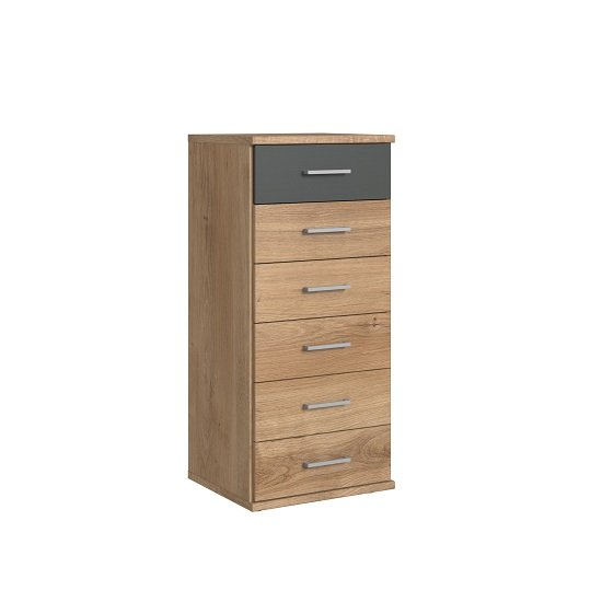 Marino Chest Of Drawers Tall In Planked Oak Effect And Graphite