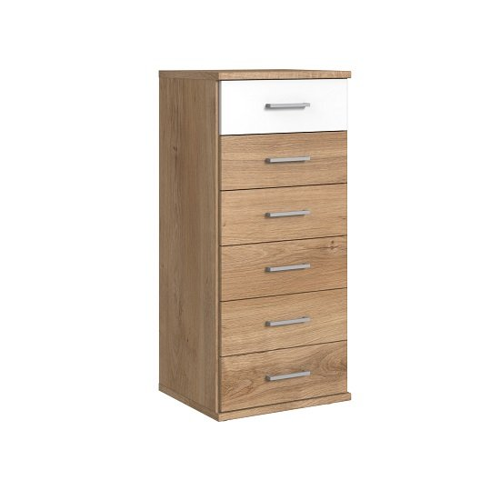 Marino Chest Of Drawers Tall In Planked Oak Effect And White