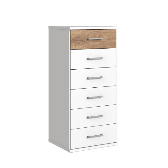 Marino Chest Of Drawers Tall In White And Planked Oak Effect