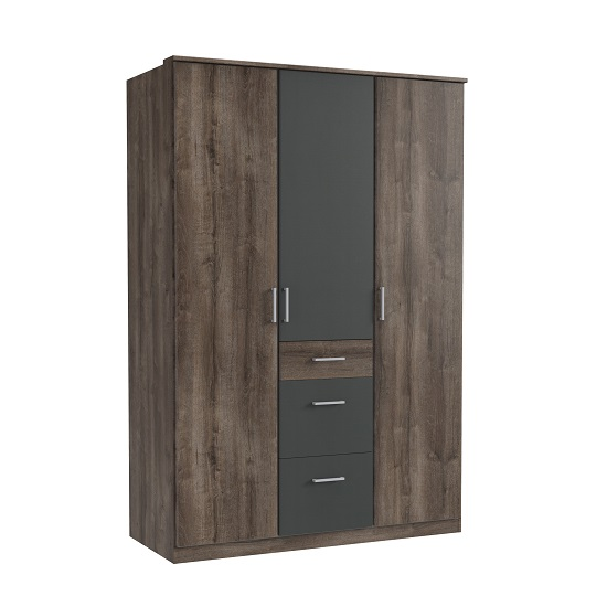 Marino Wardrobe In Muddy Oak Effect And Graphite With 3 Doors