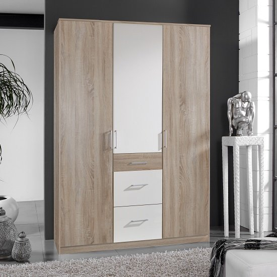 Marino Wardrobe In Oak Effect And White With 3 Doors