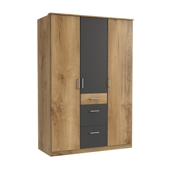 Marino Wardrobe In Planked Oak Effect And Graphite With 3 Doors