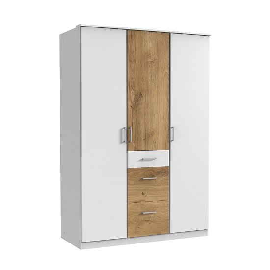 Marino Wardrobe In White And Planked Oak Effect With 3 Doors