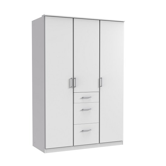 Marino Wardrobe In White With 3 Doors And 3 Drawers