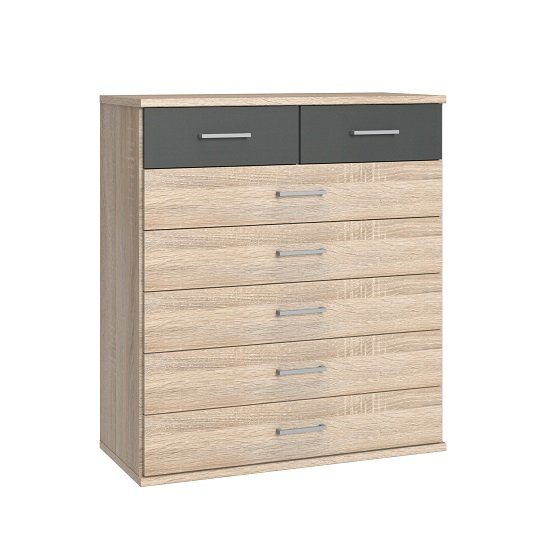 Marino Chest Of Drawers Wide In Oak Effect And Graphite
