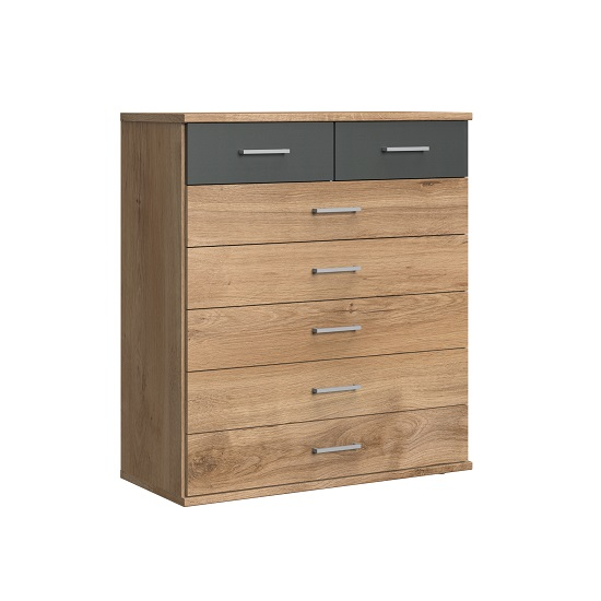 Marino Chest Of Drawers Wide In Planked Oak Effect And Graphite