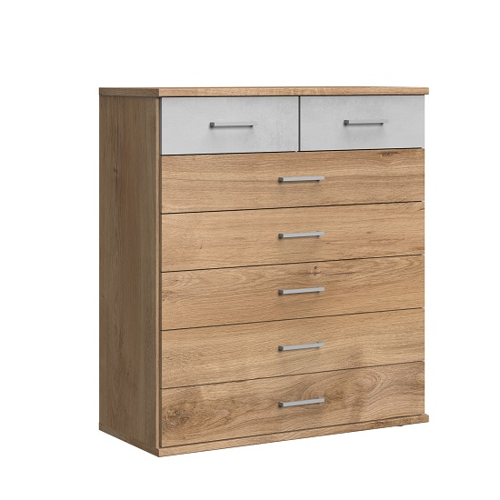 Marino Chest Of Drawers Wide In Planked Oak Effect Light Grey