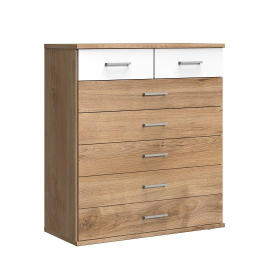 Marino Chest Of Drawers Wide In Planked Oak Effect And White