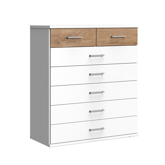 Marino Chest Of Drawers Wide In White And Planked Oak Effect