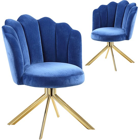 Mario Blue Velvet Dining Chairs In Pair With Gold Legs