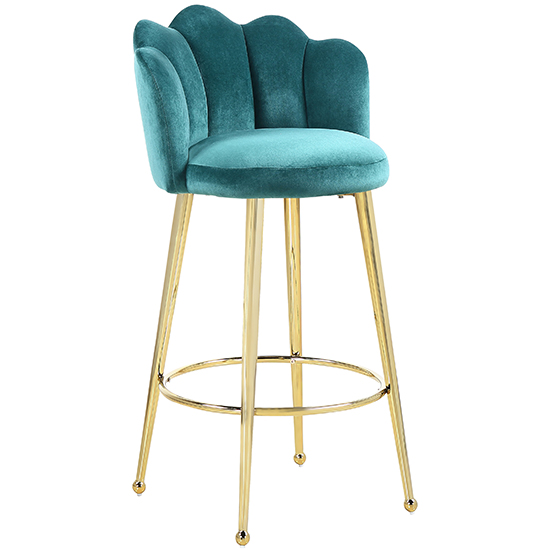 Mario Green Velvet Bar Stools In Pair With Gold Legs_2