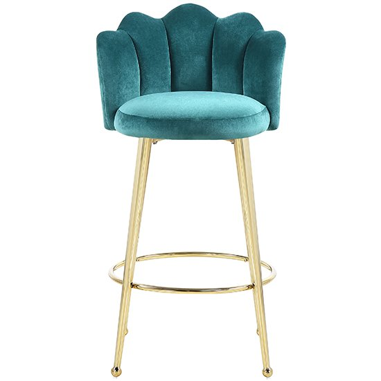Mario Green Velvet Bar Stools In Pair With Gold Legs_3