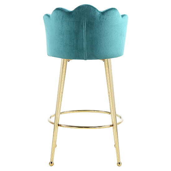 Mario Green Velvet Bar Stools In Pair With Gold Legs_4